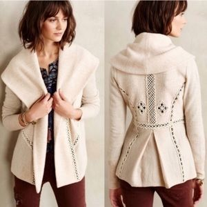 Angel of the north  soutache wool ivory cardigan